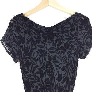 Vintage velvet burnout maxi dress shirt sleeve
